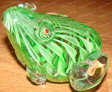 Murano Style Frog Paperweight (Green Swirls, Red Flower Eyes) Heavy Glass