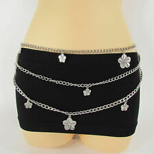 Women Hip Waist Silver Metal Chain Waves Artsy Fashion Belt Flower Charm XS S M
