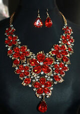 CELEBRITY STYLE CRYSTAL BIB STATEMENT NECKLACE WEDDING SET16ins 41cms UK SELLER