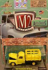 YELLOW 1951 STUDEBAKER 2R STAKE BED TRUCK M2 MACHINES 1:64 SCALE DIECAST TRUCK