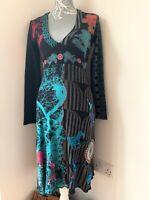 Desigual Long Sleeve Midi Dress Size Small Cotton | Animal Floral People Print