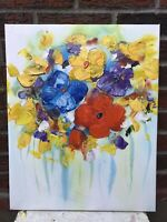 "Flowers Artwork Genuine Oil Painting 16"" x 20"" On Stretched Canvas #29"