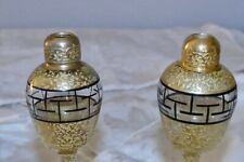 DeVilbiss Windowpane Glass Gold EncrustedGold Encrusted 1920's Pair Signed