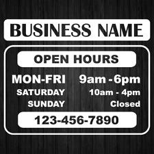 Business Name Hours Tel Store Open Hours Decal Sticker Window Door Sign Decals