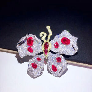 Luxury! Butterfly Brooch, High Imitation Ruby Brooch, Brooches Silver, Brooches
