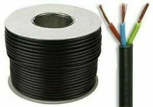 2.5mm Round Flex cable 3 core Black   per metre