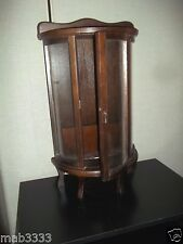 Miniature Curio Cabinet Curved Glass Mahogany Color Wood table or wall Case