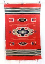 "Vtg Antique 30s? CHIMAYO Wool Rug Wall Hanging Blanket Throw 44x68"" Needs Repair"