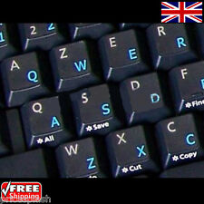 English UK Transparent Keyboard Stickers With Blue Letters for Laptop Computer