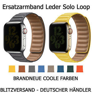 Leder Ersatzarmband Solo Loop Magnet passend für Apple Watch Series 1-6  38-44mm