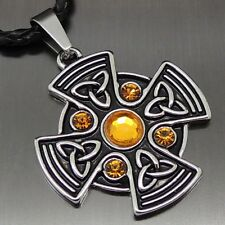 """Celtic Yellow Sun Cross Pewter Pendant Free 20"""" Necklace PP#295Y"""