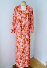 VGC Vtg 70s Mod Pink Brown Floral Poly Knit 2-Pc Maxi Dress Jacket Suit 10 / 11