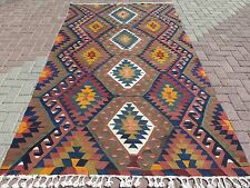 "Antique Turkish Rugs For Sale,Kilim Rug,Wool Rug 62,2""x110,2"" Area Rugs,Carpet"