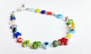Venetian Colourful Flower Bead & Swarovski Anklet (Adjustable)005