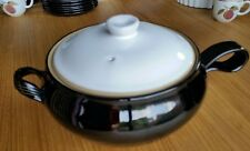 Denby- lidded tureen with handle- black and white