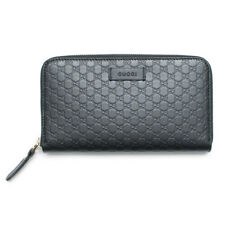 Gucci Black Leather Micro GG Guccissima Zip Wallet Authentic Italy Box Dustr New