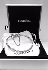 Authentic Pandora Bracelet W/ Pandora Safety Chain #590702HV-19 W/ BOX & TAGS