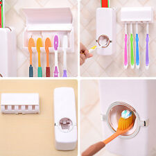 New Automatic Toothpaste Dispenser Toothbrush Holder Bathroom Wall Mounted