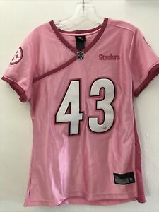 Pittsburgh Steelers Reebok Womens LARGE Pink Jersey Troy Polamalu #43