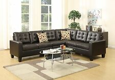 4-Pcs Modular Sectional Espresso Bonded Leather Tufted Loveseat Chair Wedge Sofa
