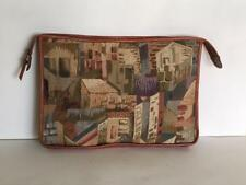 Vintage Tapestry Big Clutch Purse British Tan Leather Adobe House Italy Handbag