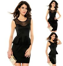 Sz 10 12 Black w Studs Mesh Peplum Formal Dance Party Cocktail Chic Mini Dress