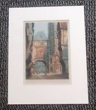 ANTIQUE PRINT VICTOR VALERY Signed Coloured Etching Rouen France