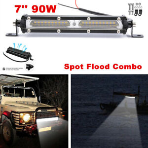 1x 90W 7inch Flood Spot LED Work Light Bar For Car Truck Boat & Accessories