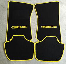 Autoteppich Fußmatten für Ford Capri 2 & 3 schwarz-gelb 4tlg. Neuware