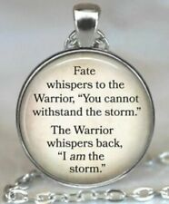 Fate Whispers Warrior Remington Quote Silver Pendant Necklace US SELLER Cabochon