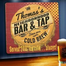 Personalized Beer Served 24/7 Custom Wood Bar Sign Home Pub Man Cave