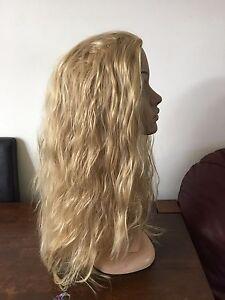 medium blonde wavy curly frizzy puffy 3/4 half head long hair wig fancy dress