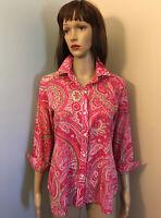 RALPH LAUREN Womens Sz PL Pink Paisley Cotton Button SHIRT TOP 3/4 Sleeve