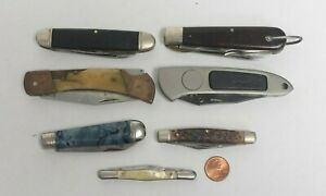 Lot of 7 Vintage Folding Blade Pocket Knives:Camilus,Imperial, High Carbon & mor