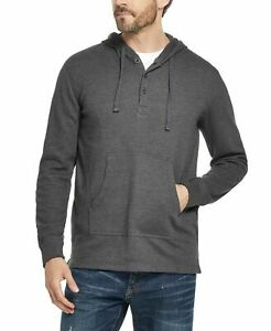 Weatherproof Mens Hoodie Gray Size Large L Textured Henley Pullover $60 124