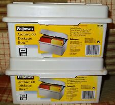 "Lot 2 Fellowes Archive 60 Diskette Box 3.5"" Floppy Disk File Storage Case PC"