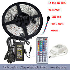 5M 300 5050 LED RGB+Remote Control with 5A UK Adapter Light Strip Tape XMAS 12V