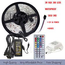 5 M 300 5050 LED RGB + TELECOMANDO CON ADATTATORE 5 A UK Luce Striscia Nastro Natale 12 V