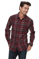 Apt. 9 Men's Red Plaid Brushed Flannel Button-Down Shirt Size S 100% Cotton NWT