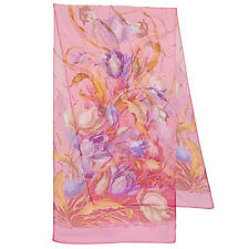 """16x60"""" Pink Floral Scarf Russian Pavlovo Posad Shawl 100% Silk Made in Russia"""