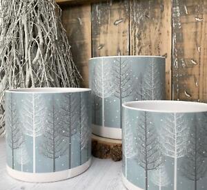 Nordic Style Grey Ceramic Winter Woodland Christmas Tree Flower Plant Pot Holder