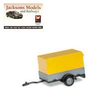 Herpa 051576-002 Car Trailer with Open Canvas, Sign Yellow 1:87 Scale