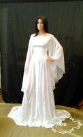 medieval wedding dress, white celtic gown in crushed velvet, off the shoulder.
