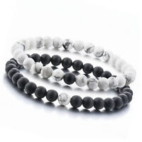 Couple Distance Bracelets for Lovers-2pcs Matte Agate & White Howlite 6mm Beads