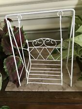 White Metal Hanging Swing for Fairy Garden or Dollhouse Miniatures