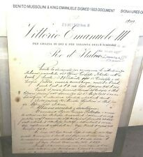 Benito Mussolini & King Emanuele III of Italy Signed Autographed Document 1933