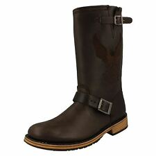 Harley Davidson 'Clint' Mens Brown Leather Zip Fastened Mid Calf Biker Boots