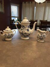 J & G Meakin Classic White Blue Nordic Creamer Sugar Tea Coffee Pot Service