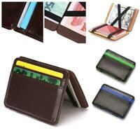 Men's Leather Wallet Slim Magic Money Clip Card Holder Card RFID Wallets S2T5