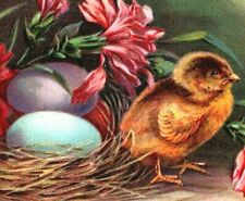 c1910 Antique Easter BPC Postcard Darling Chick Flowers Eggs Cross Vibrant! A46